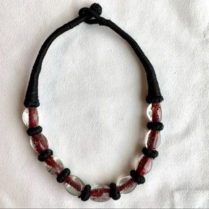 "Jewelry - Woven clear glass bead necklace 17"" Red & Black"